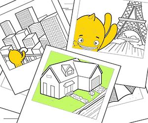 Dibujos para Colorear de Casas, Ciudades y Monumentos